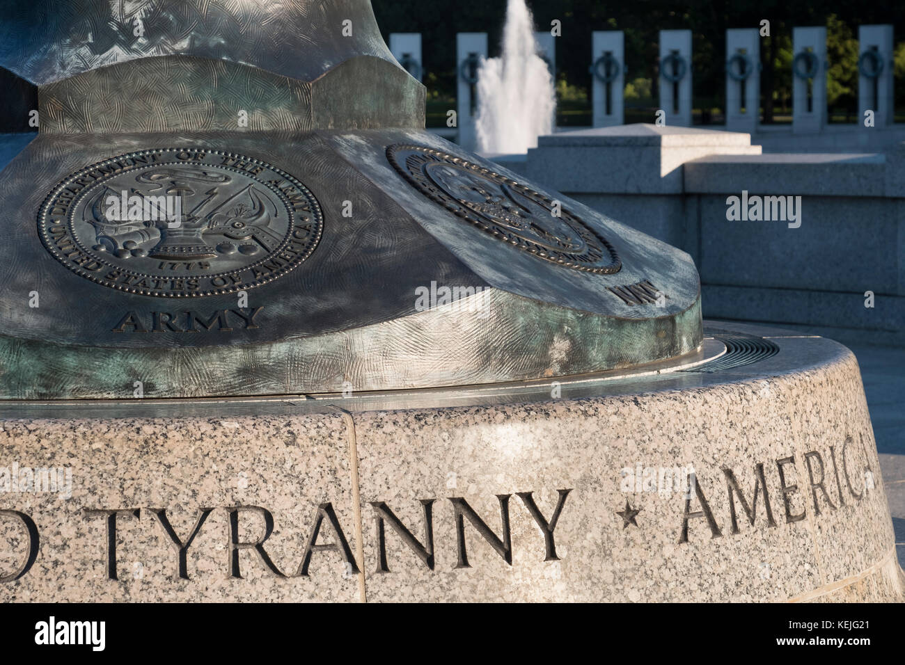 Detail on the National World War 2 Memorial, National Mall, Washington DC, USA - Stock Image