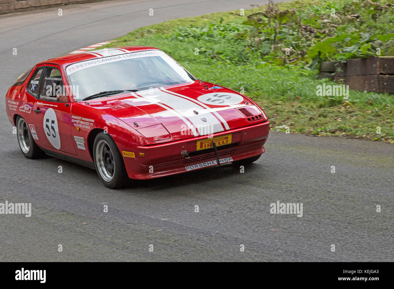 Porsche 924 being driven by Stuart Maclean at the Autumn Speed Finale at Shelsley Walsh Hill Climb, Worcestershire, - Stock Image