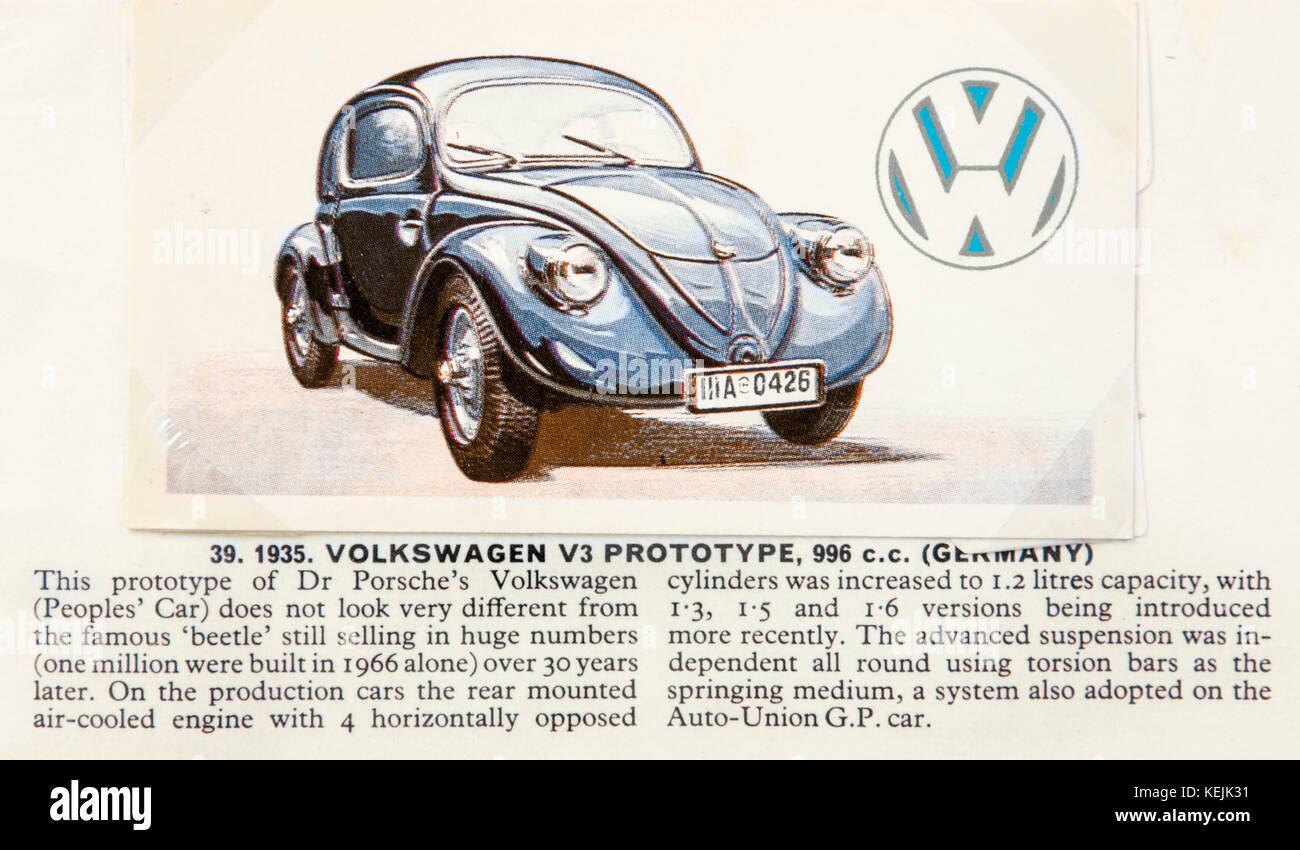 1935 Volkswagen V3 Prototype 996cc 'Beetle' (The People's Car), as depicted in 'History of the Motor - Stock Image