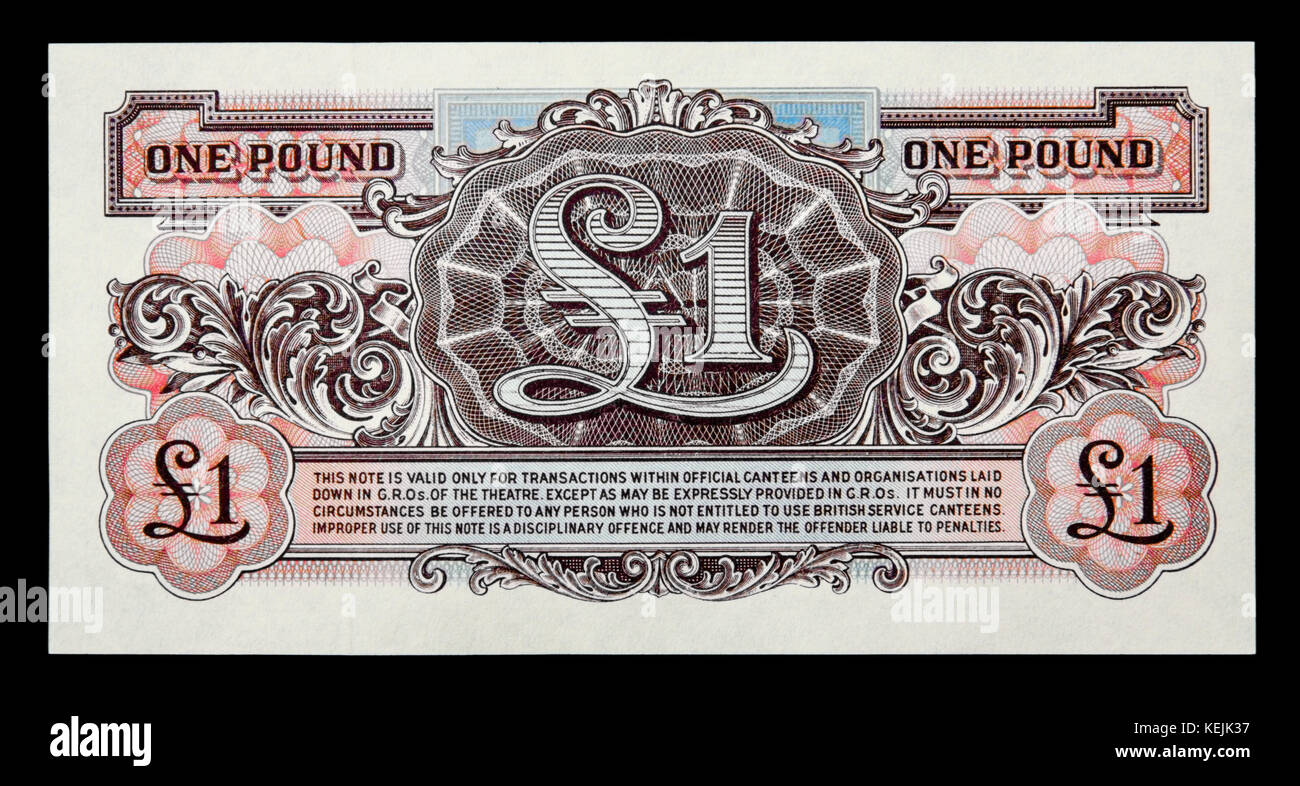 British Armed Forces issued their own banknotes between 1946 and 1972. This is the reverse side of a £1 note - Stock Image