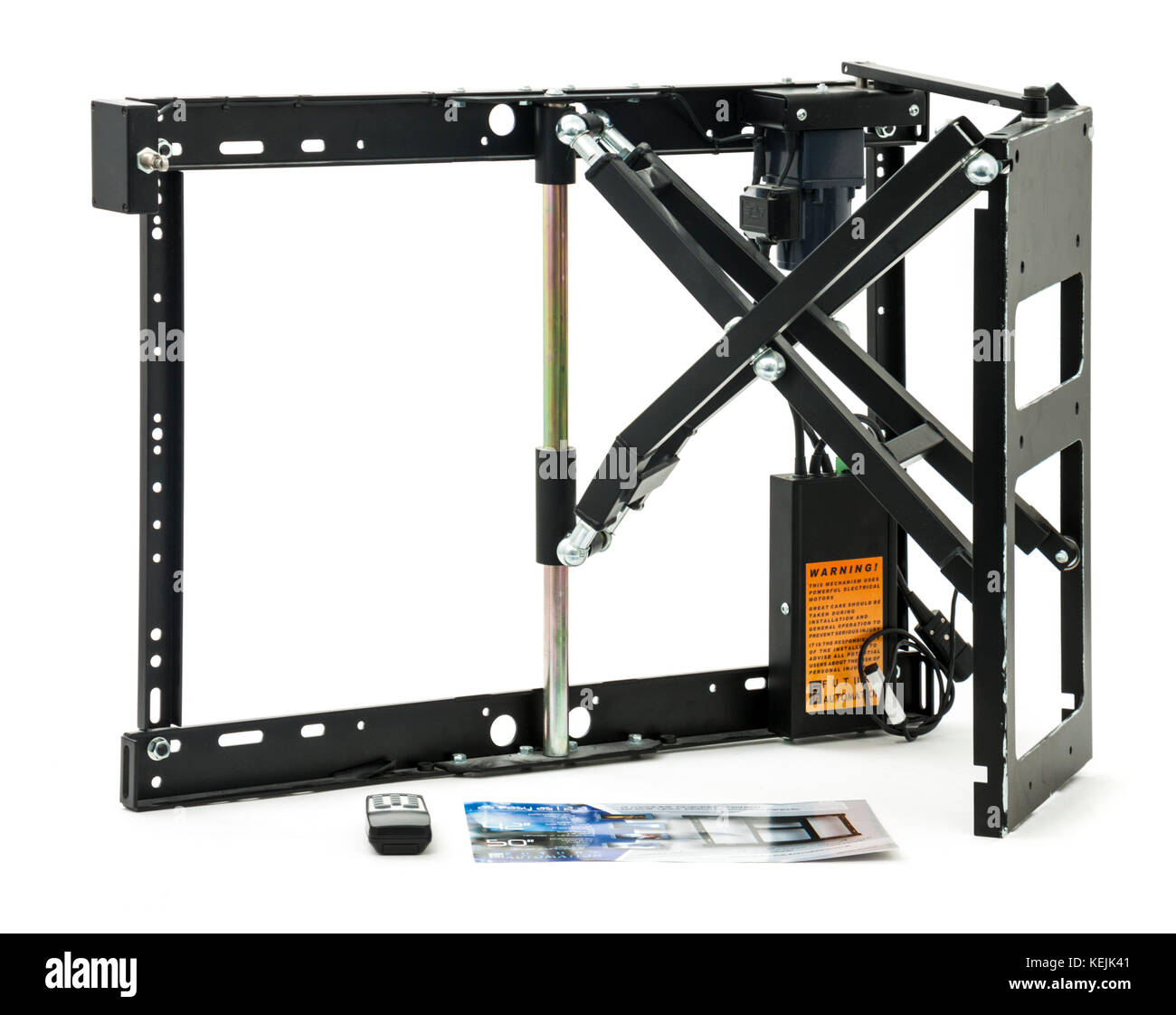 Large heavy-duty motorized and articulated TV wall mounting bracket for screens up to 50 inches in size by Future - Stock Image