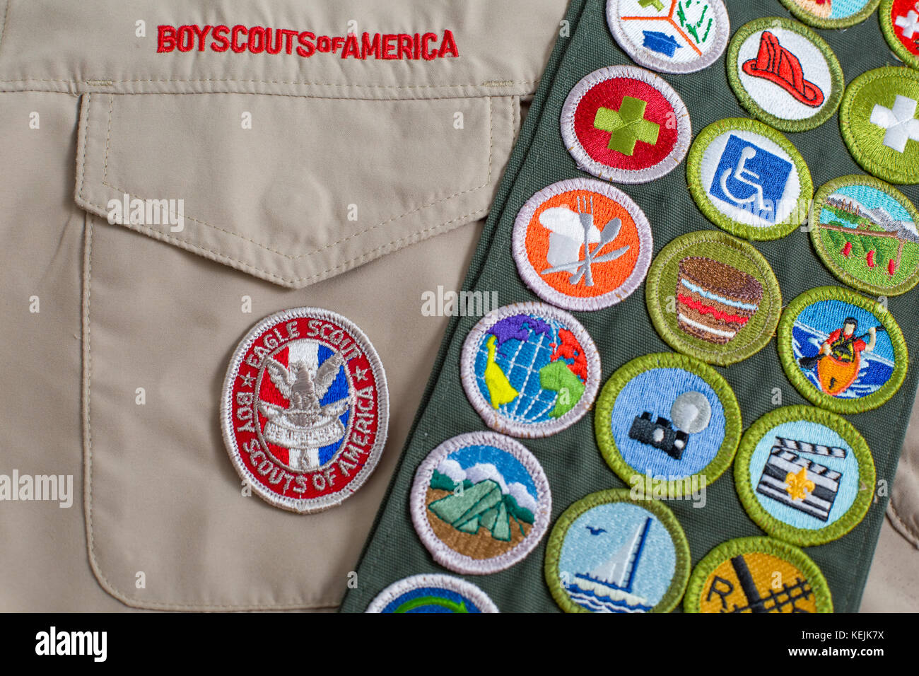SAINT LOUIS, UNITED STATES - OCTOBER 16, 2017:  Eagle patch and merit badge sash on Boy Scouts of America (BSA) - Stock Image