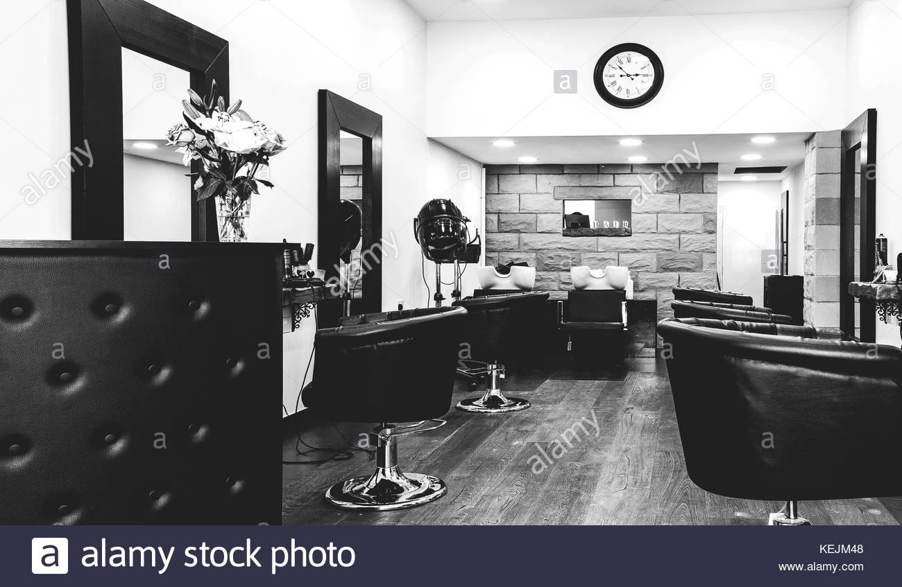 Interior of Monochromatic Salon - Stock Image