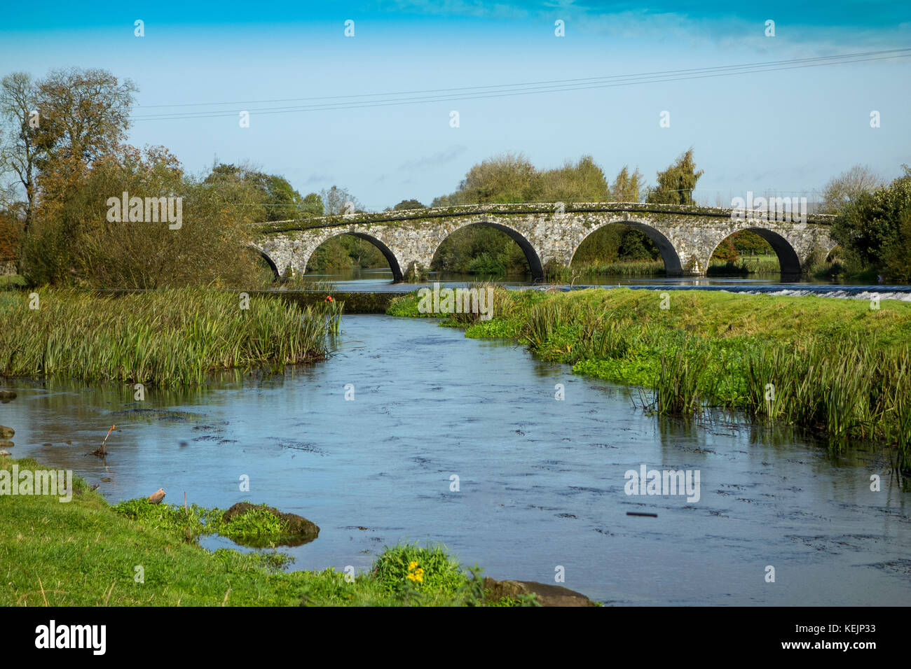 The view towards the bridge over the Nore river at Bennettsbridge, Kilkenny, Ireland from the famed Nicholas Mosse - Stock Image