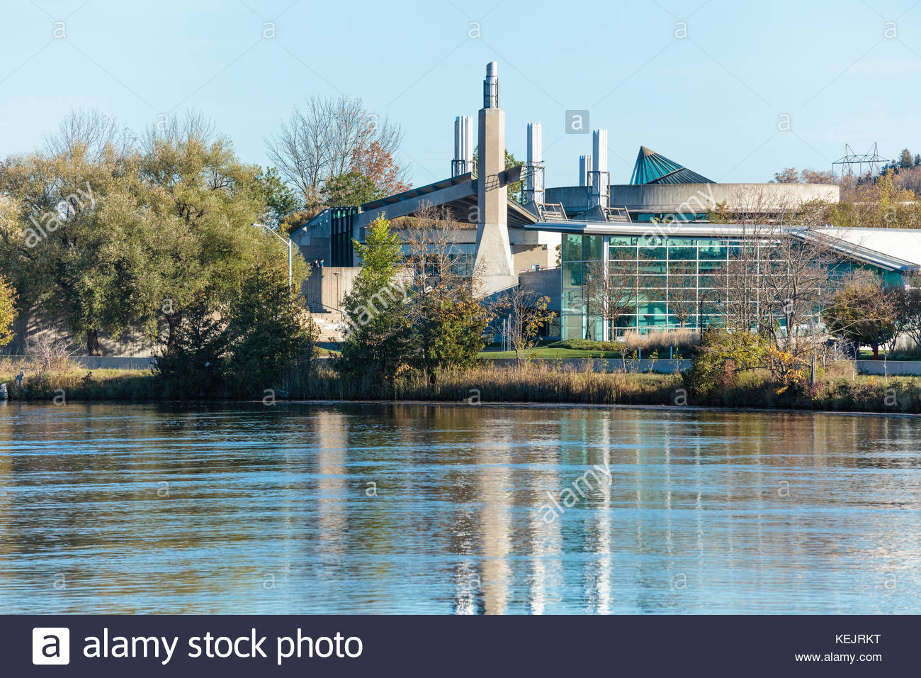 Science building part of Trent University on the Otonabee River at Peterborough Ontario Canada - Stock Image