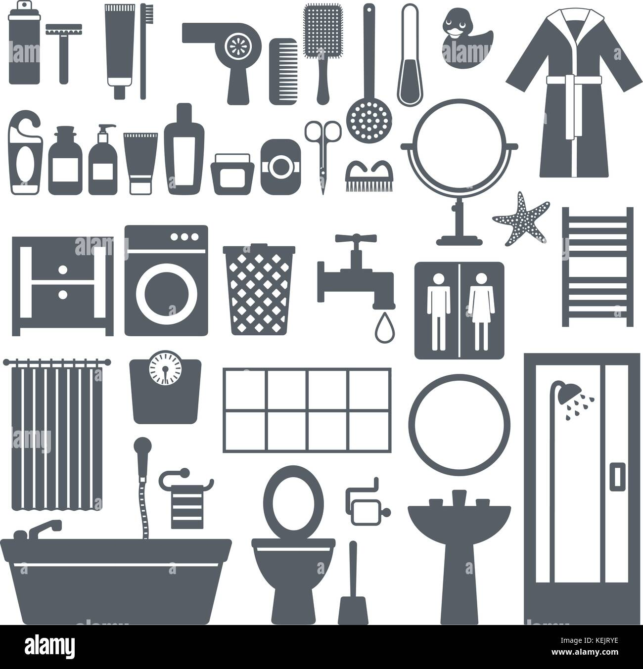 Bathroom furniture, accessories and cosmetics silhouette icons