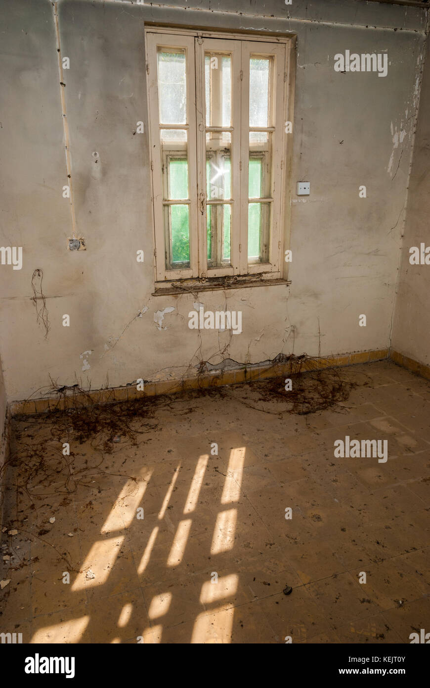 Abandoned sanatorium - hospital room Stock Photo