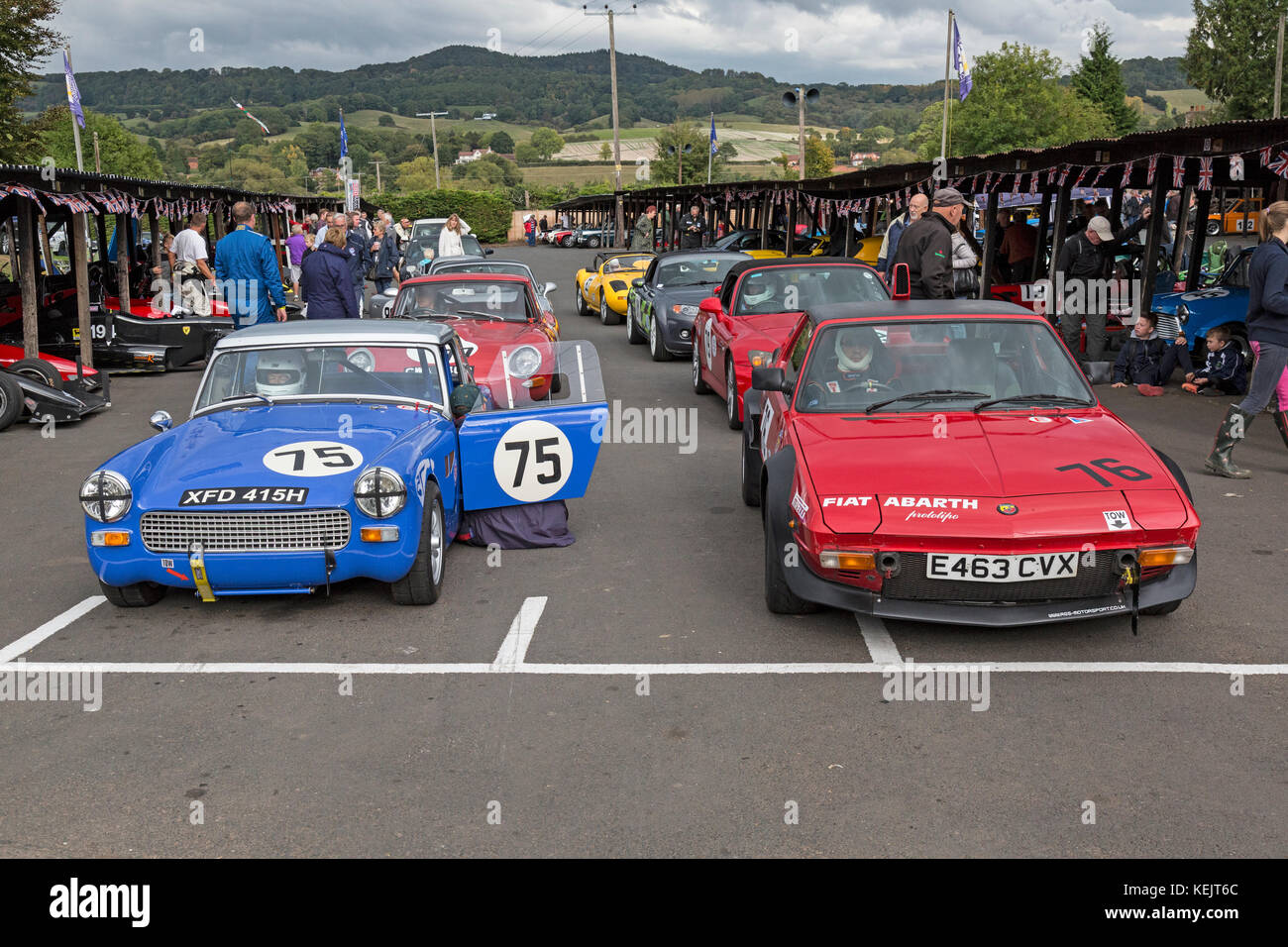 Line up of Sports Cars including a Fiat X1/9 and an MG Midget at the 2017 Autumn Speed Finale at Shelsley Walsh - Stock Image