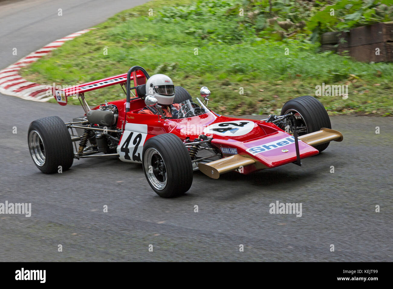 Lotus 69 F3 being driven by Tony Wallen at the Autumn Speed Finale at Shelsley Walsh Hill Climb, Worcestershire, - Stock Image