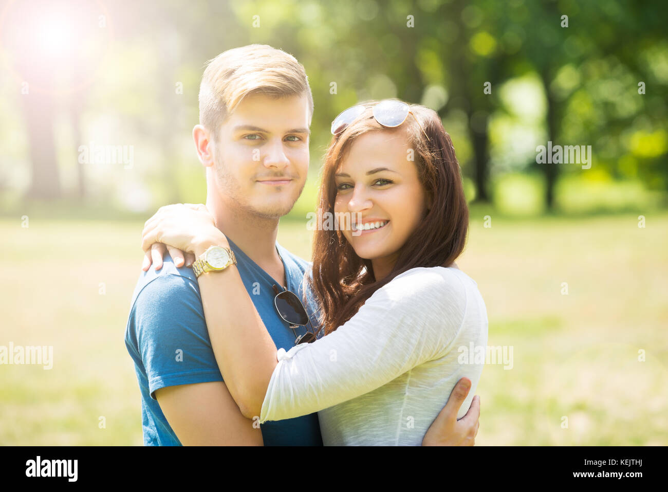 Portrait Of Lovely Couple Hugging Each Other Stock Photo