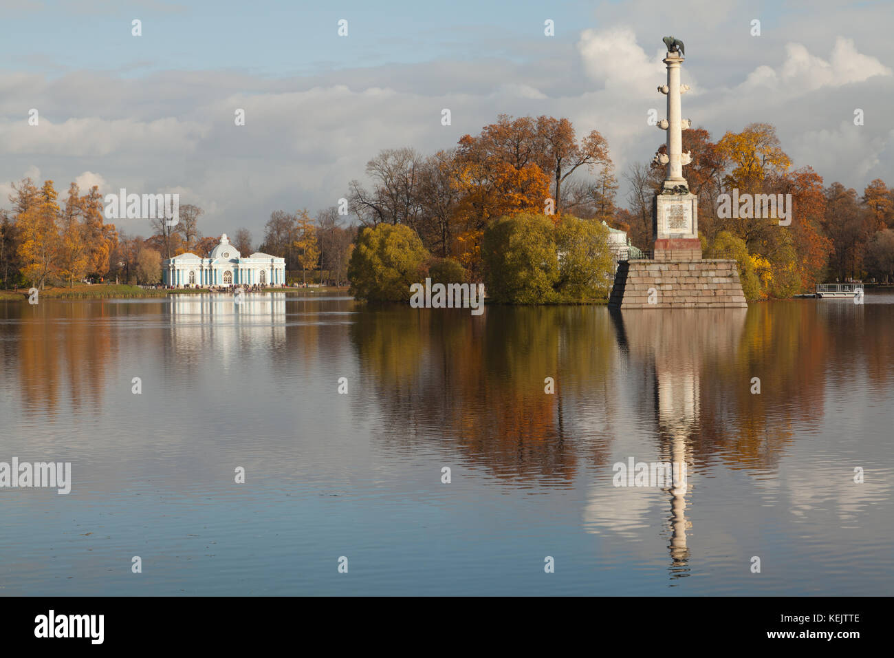 Grotto pavilion and Chesme Column in Catherine park of Tsarskoe Selo, Saint Petersburg, Russia. - Stock Image