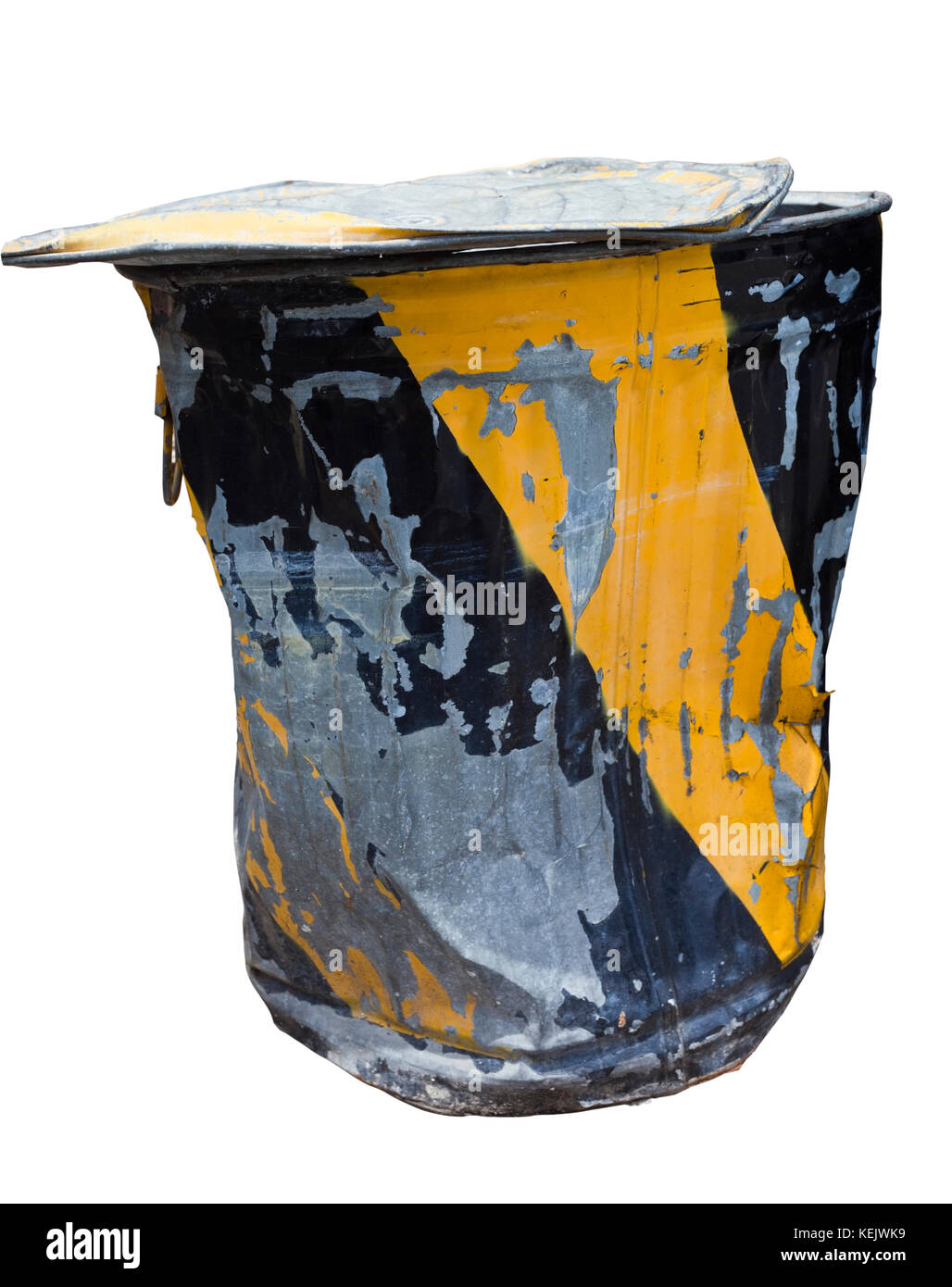 Industrial metal trash can. Really beat up. Isolated. - Stock Image