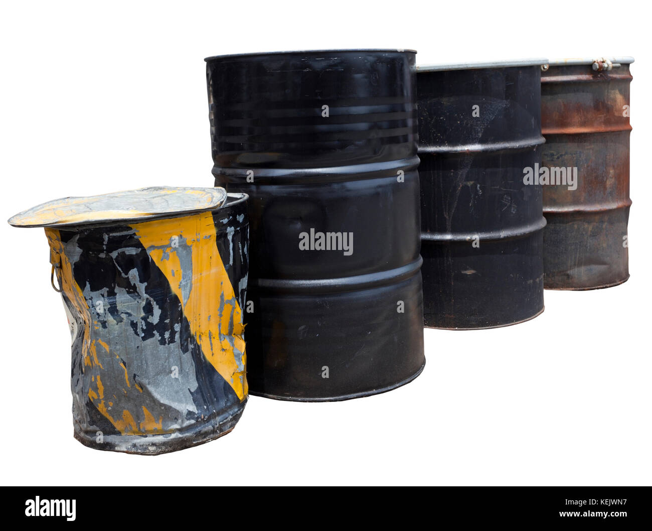 Isolated row of industrial cans and barrels. - Stock Image