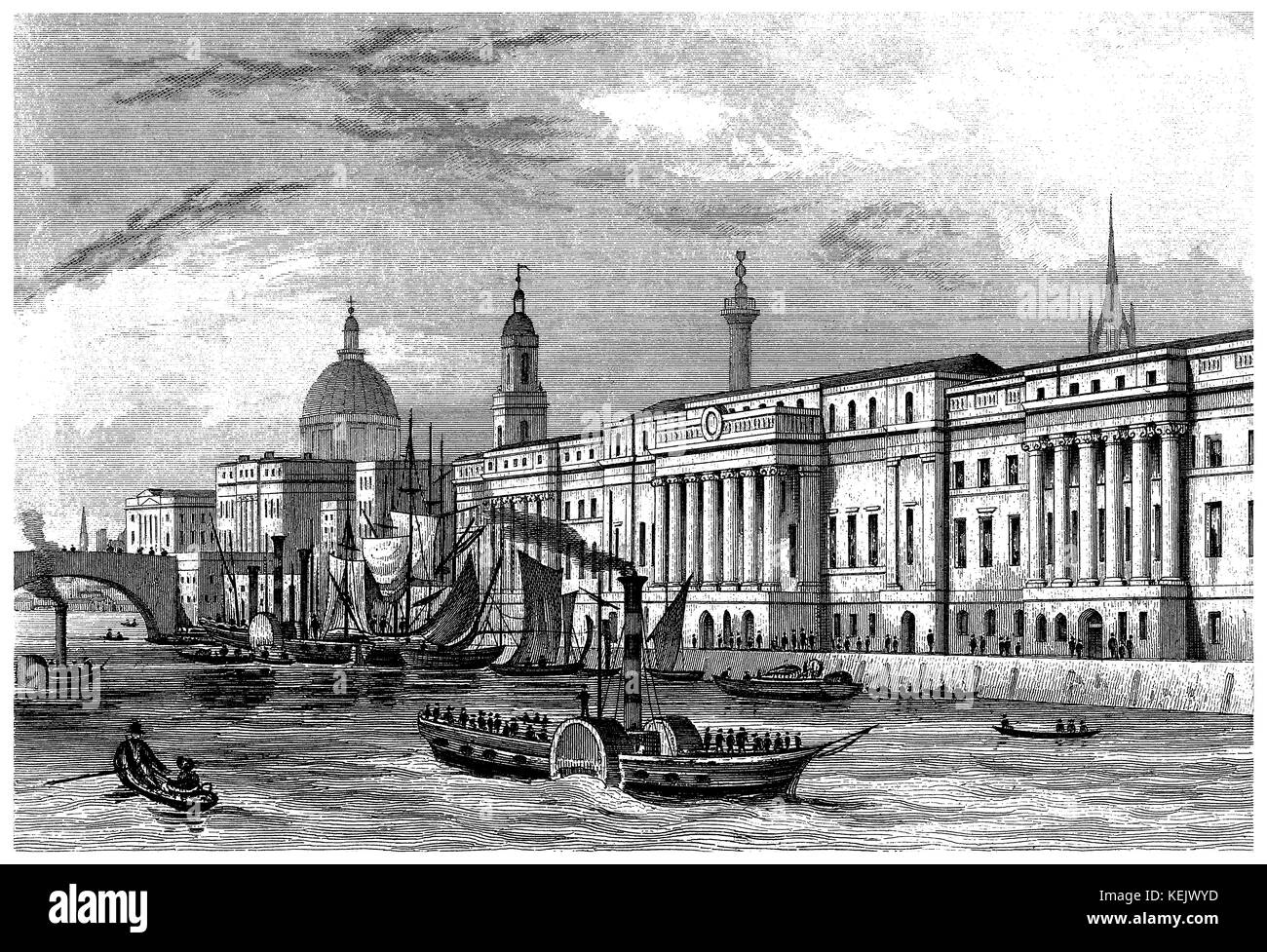1853 engraving of Custom House on the River Thames in the city of London. - Stock Image