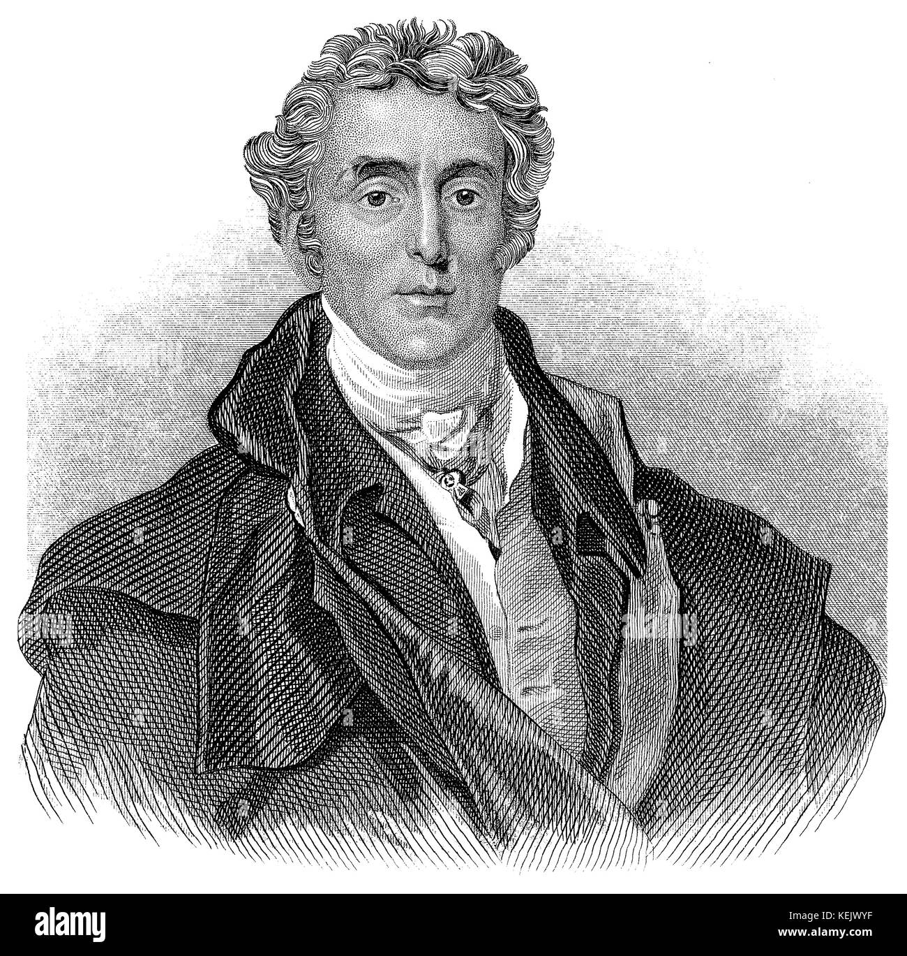 1853 engraving of Field Marshall Arthur Wellesley, 1st Duke of Wellington. - Stock Image