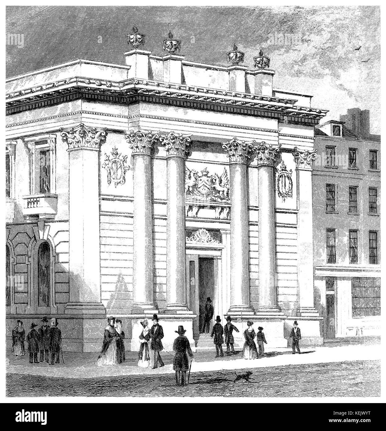 1853 engraving of Gresham College in Gresham Street, London. - Stock Image