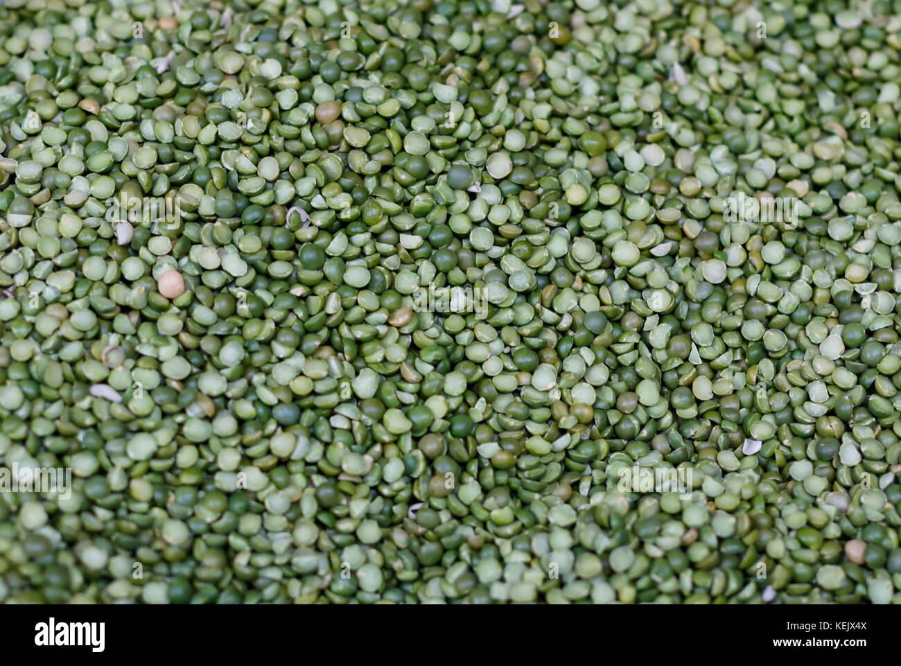 Dry Green Split Peas at a Produce Stand. - Stock Image