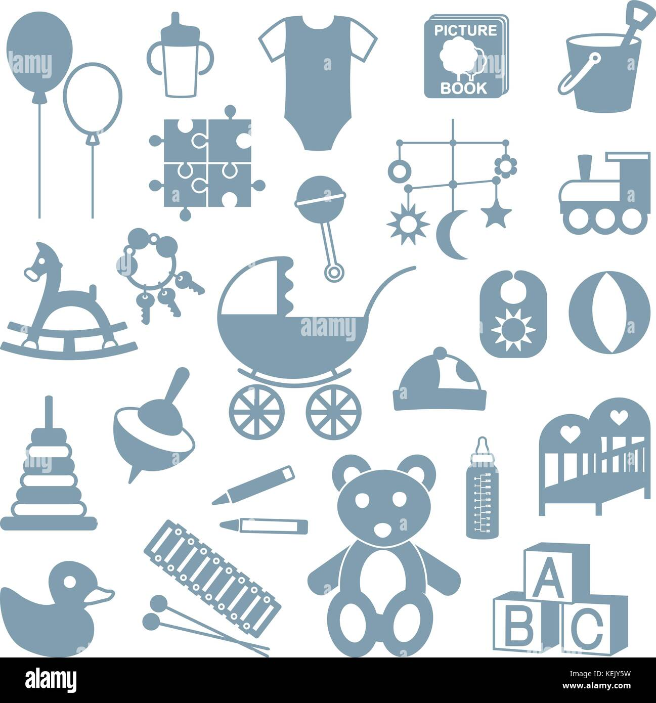 Various isolated kids gear and toys silhouette icons set. - Stock Vector