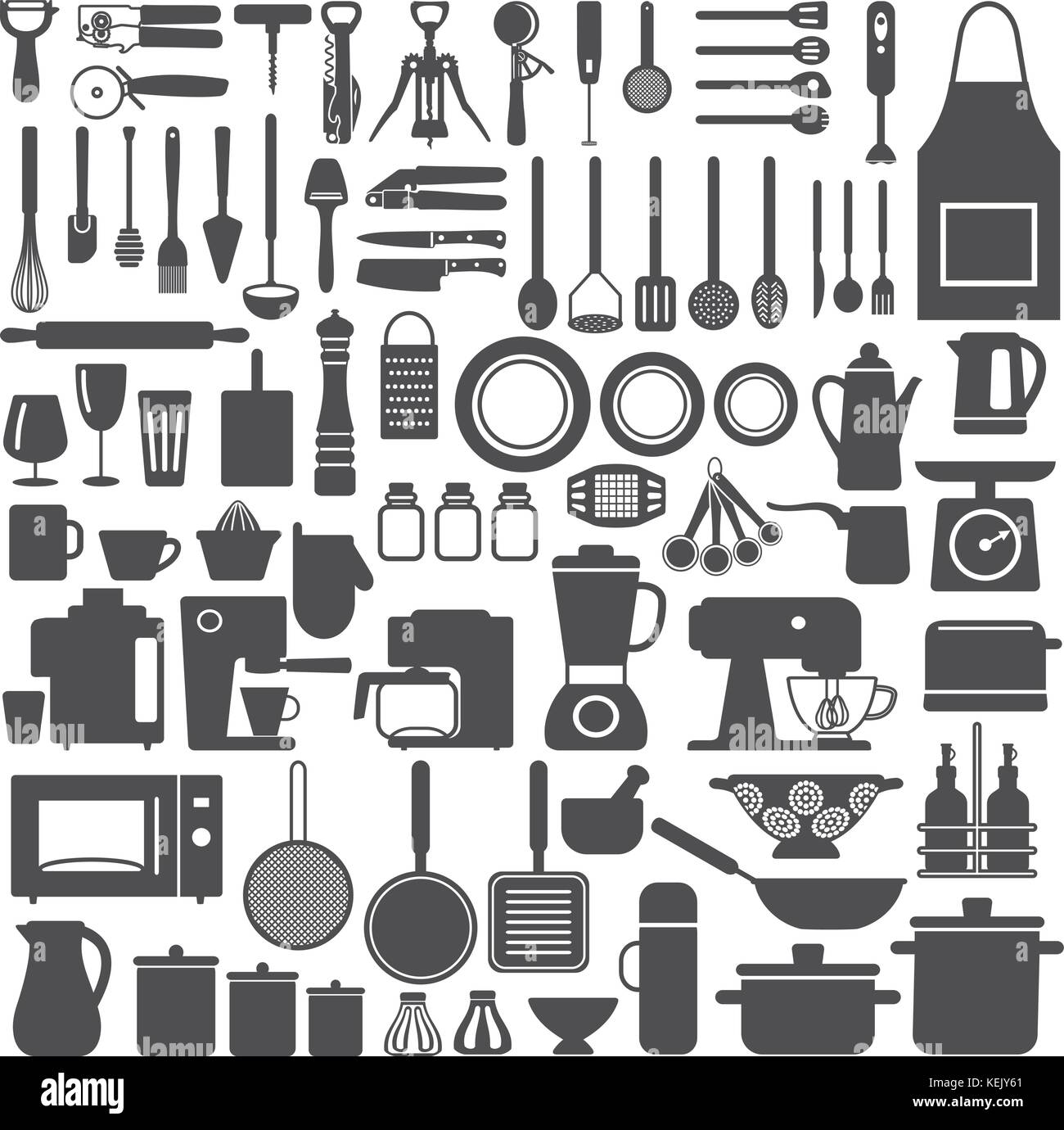 Various kitchen utensils and appliances vector  silhouette icons set. - Stock Vector