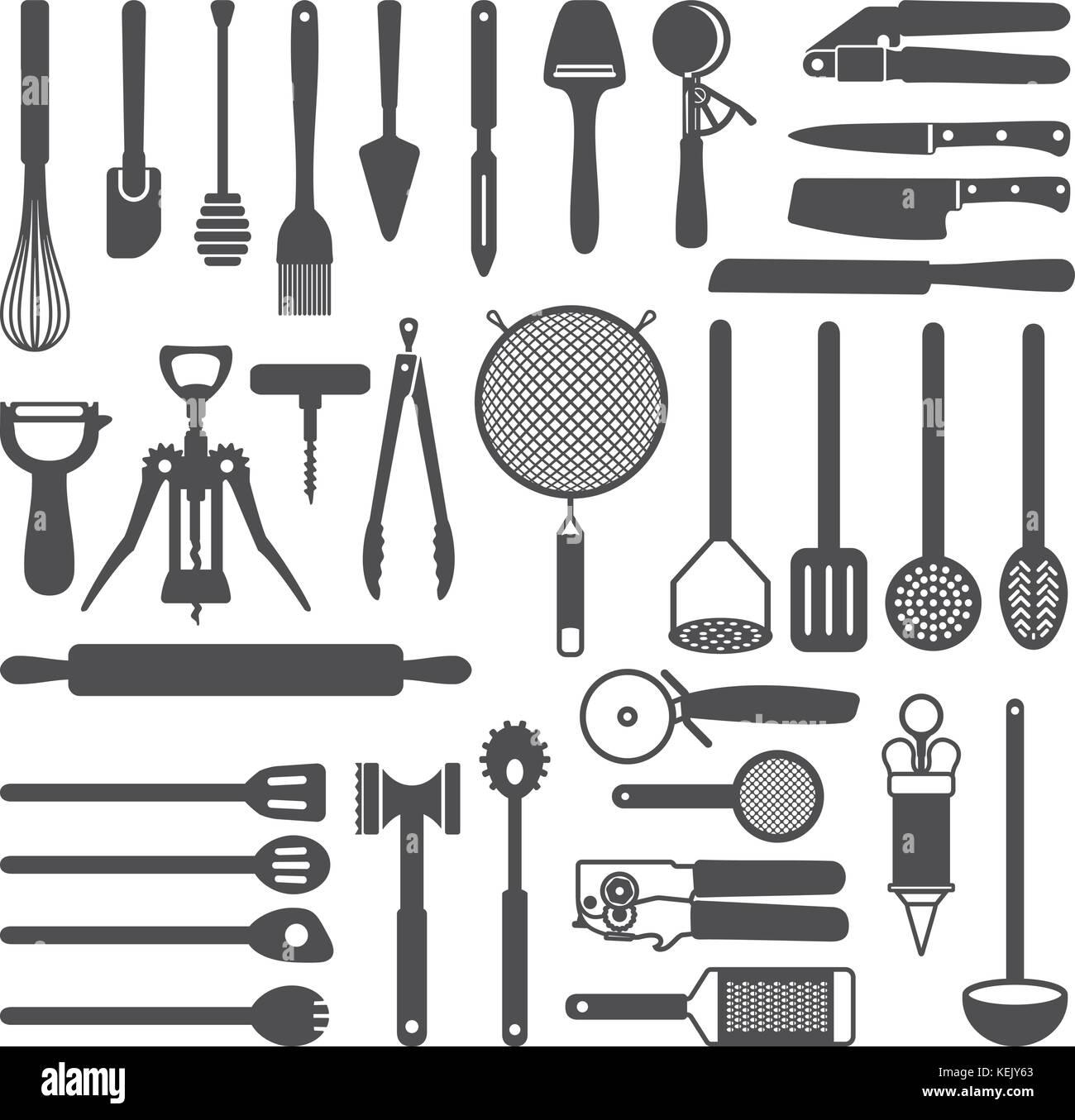 Various kitchen utensils vector silhouette icons set. - Stock Vector