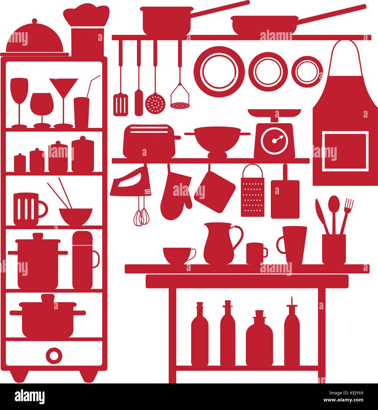 Various kitchen and restaurant vector silhouette icons. - Stock Vector