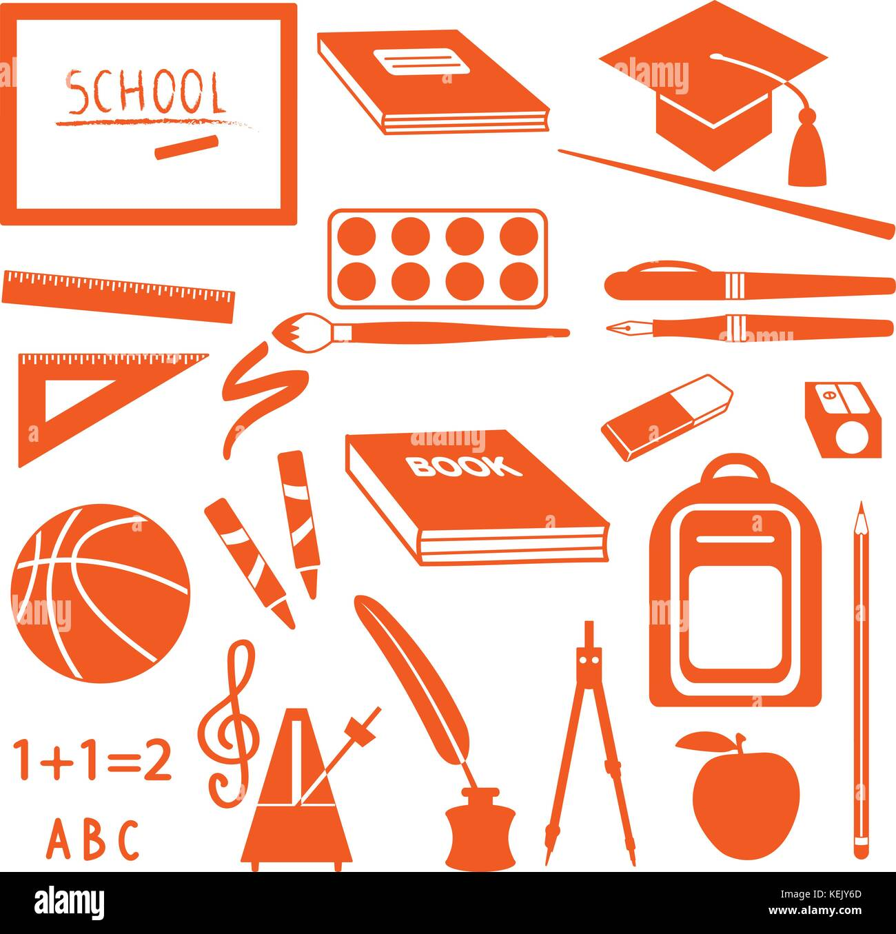 School symbols and supplies vector icons. - Stock Image