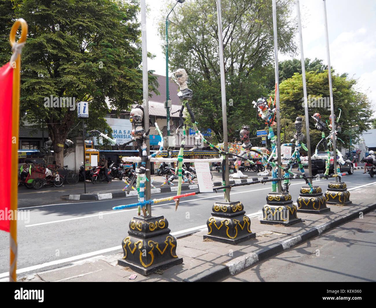 Street art on road divider at  Malioboro Road in Jogjakarta, Central Java, Indonesia. - Stock Image