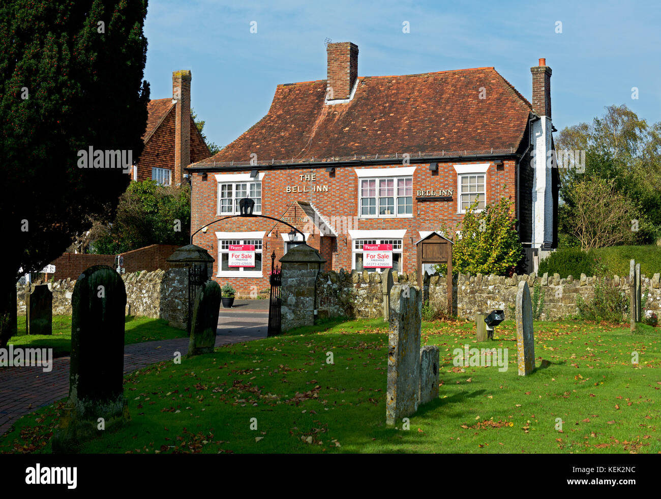 The Bell pub - up for sale - in the village of Burwash, Sussex, England UK - Stock Image