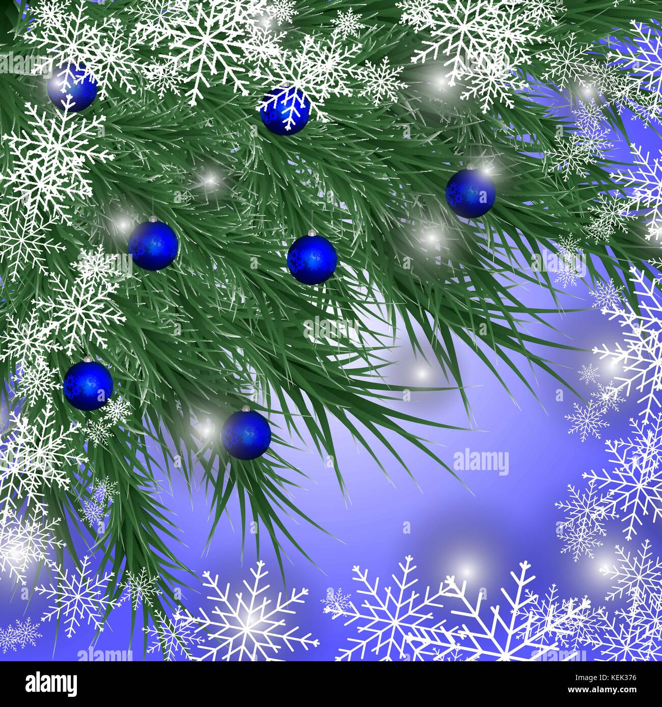Christmas card. Winter background with spruce branches and blue  - Stock Vector