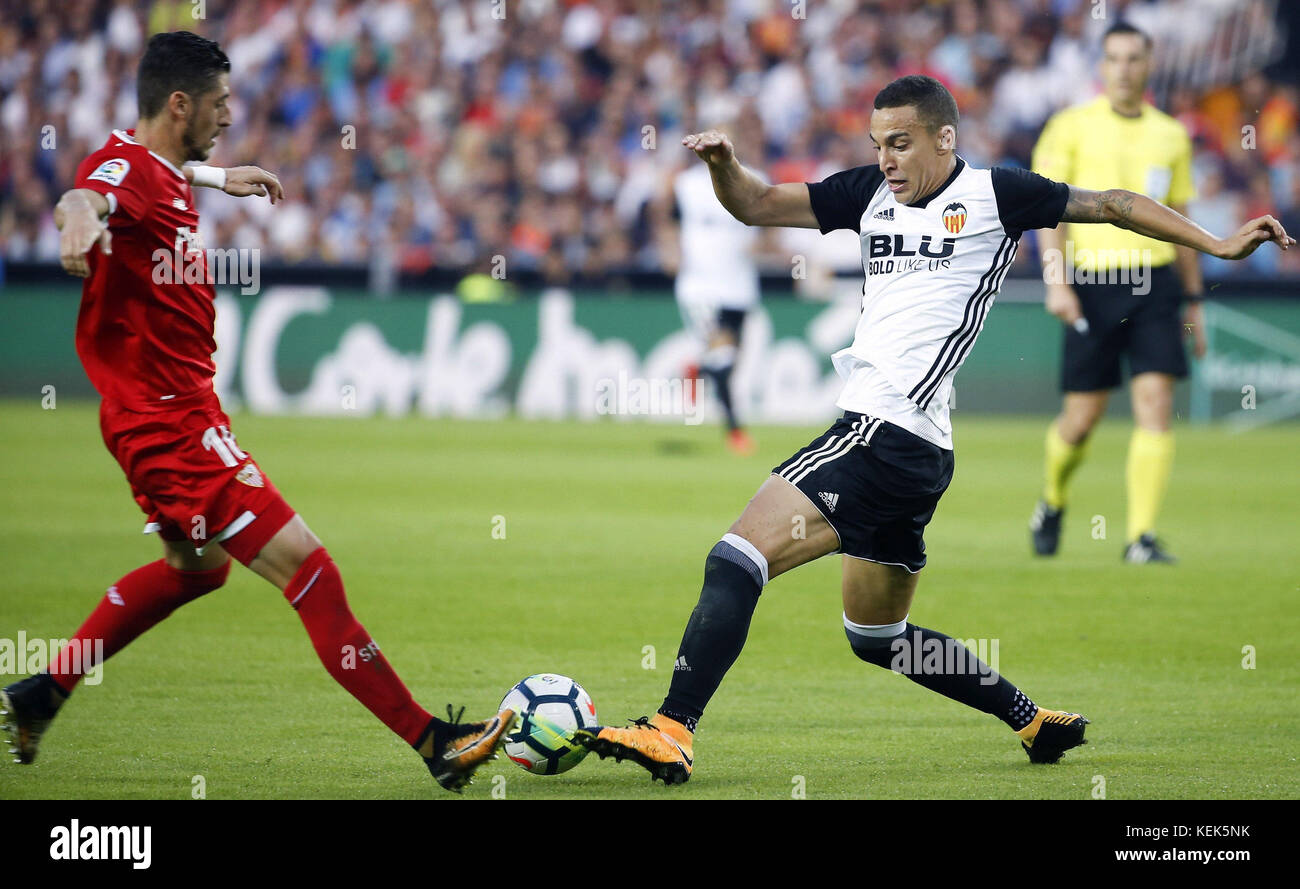 Sevilla CD´s player FSergio Escudero and Valencia´s Rodrigo Moreno the Primera Division LaLiga match at - Stock Image
