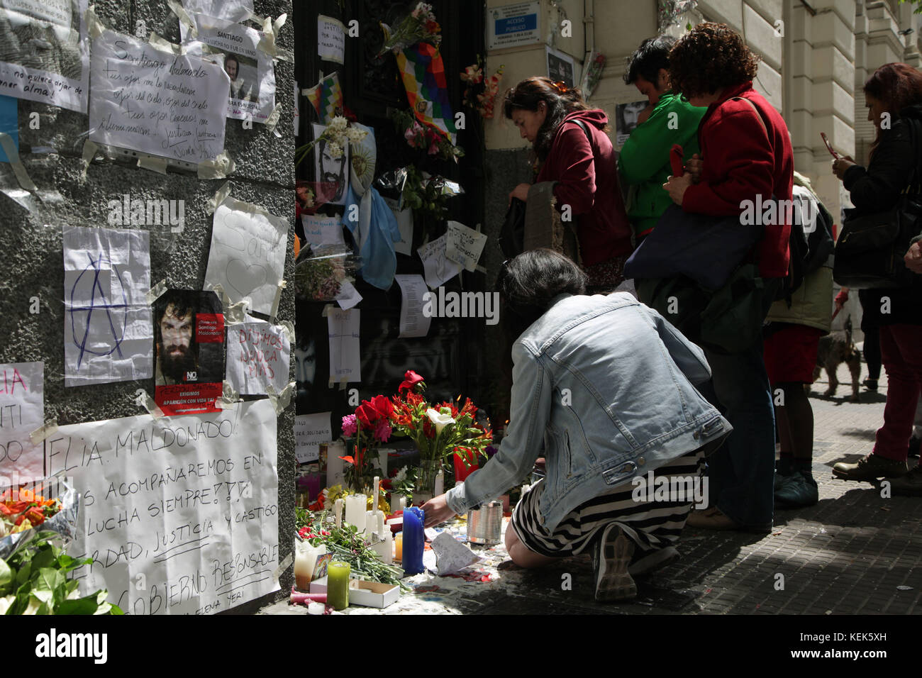Buenos Aires, Buenos Aires, Argentina. 21st Oct, 2017. After confirming the identity of the corpse of Santiago Maldonado, - Stock Image