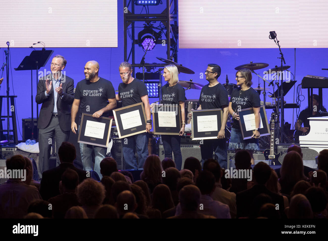 College Station, Texas USA Oct. 21, 2017: Points of Light award winners onstage at Texas A&M University's - Stock Image
