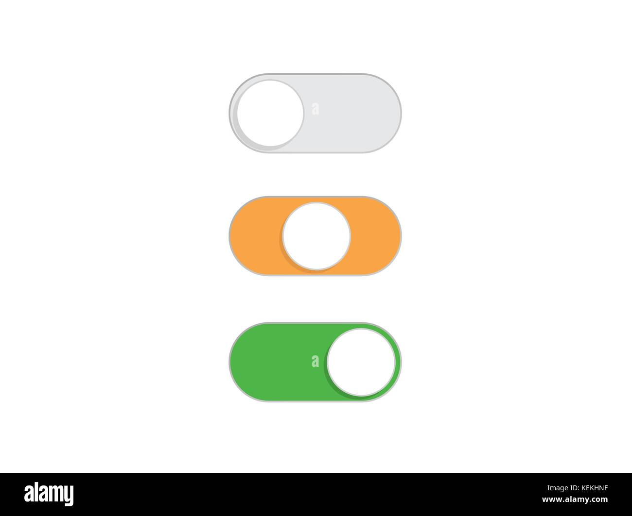 Flat simple On and Off Toggle switch button vector format - Stock Image