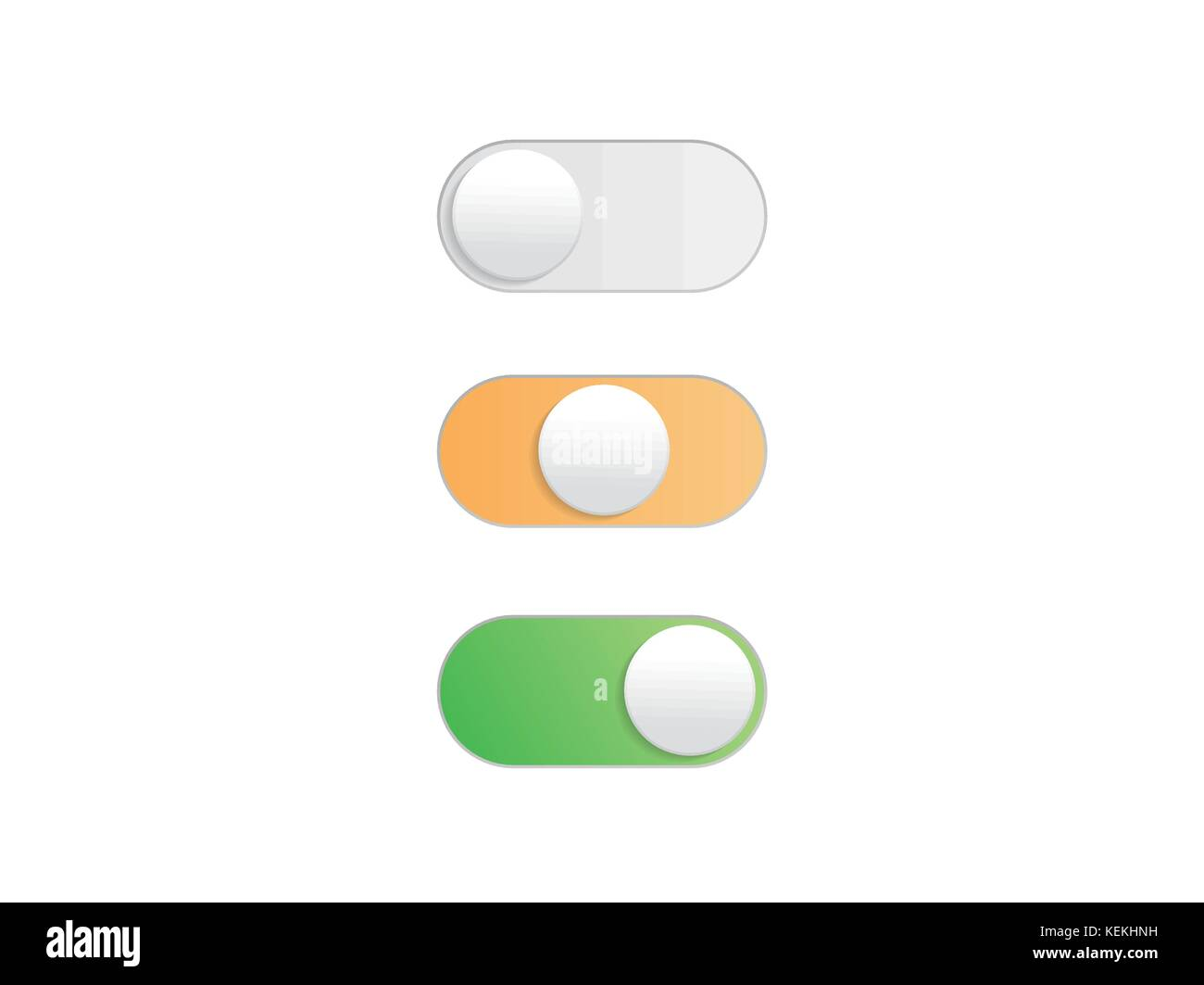 Professional gradient On Off Toggle switch button vectorformat - Stock Image