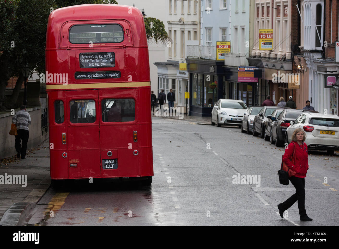 Windsor, UK. 21st October, 2017. An old double-decker bus in Windsor High Street. - Stock Image