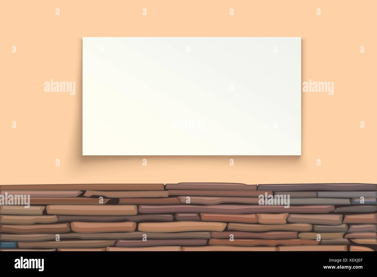 stone wall with paper board - Stock Vector
