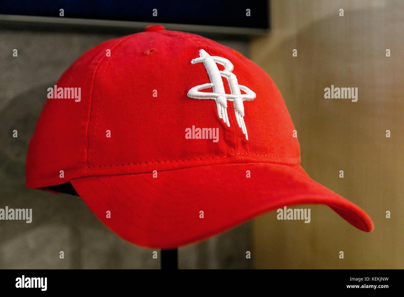 630e2f6b2e6a3c Houston Rockets hat on sale in the NBA store in Manhattan Stock ...