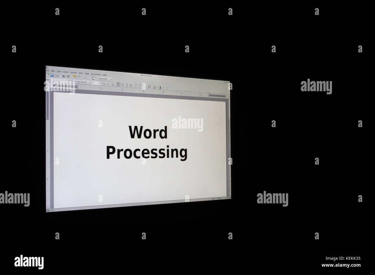 Computer Screen displaying Word Processing - Stock Image