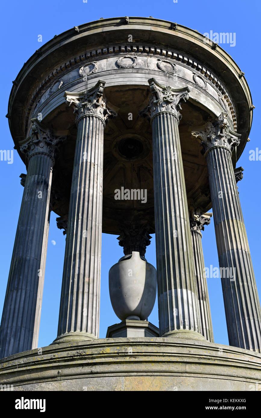 Dugald Stewart Monument on Calton Hill in Edinburgh Stock Photo