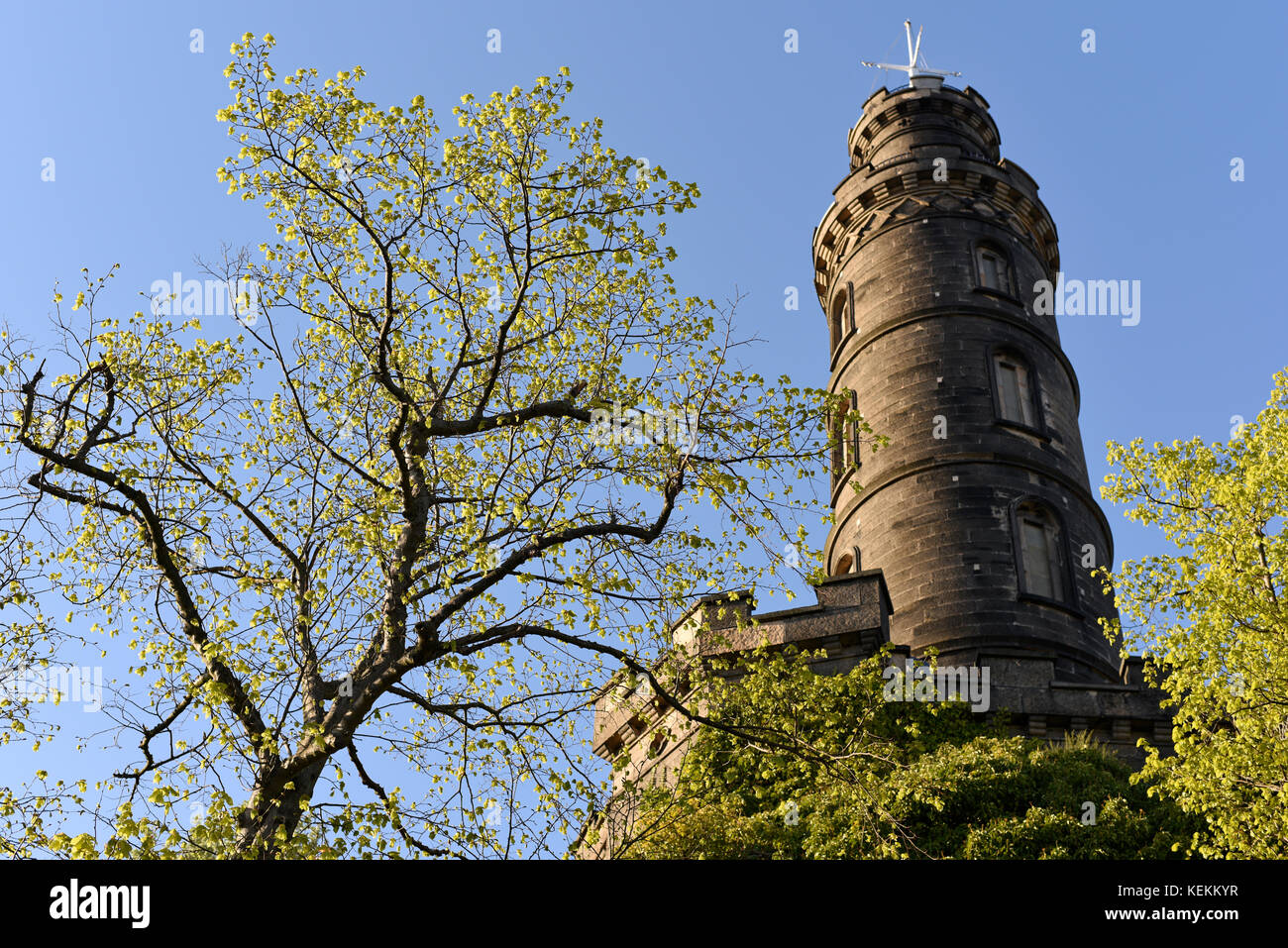 Nelson Monument on Calton Hill in Edinburgh Stock Photo