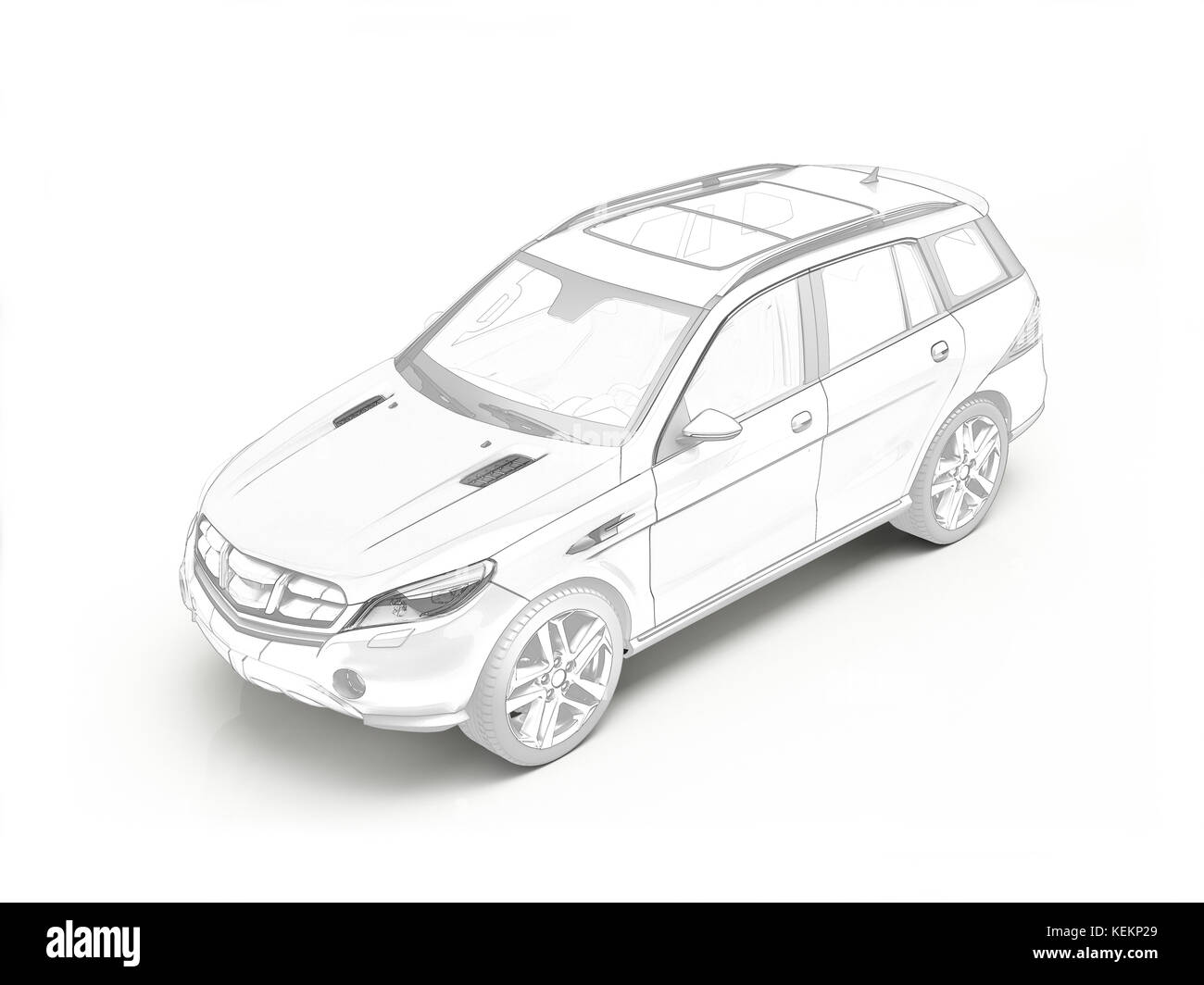 Suv car black line drawing - Stock Image