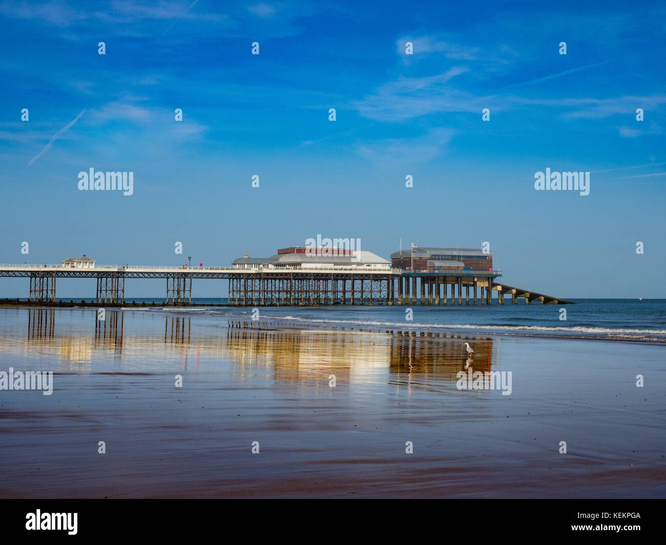 View of Cromer beach showing the famous pier, Norfolk, England, - Stock Image