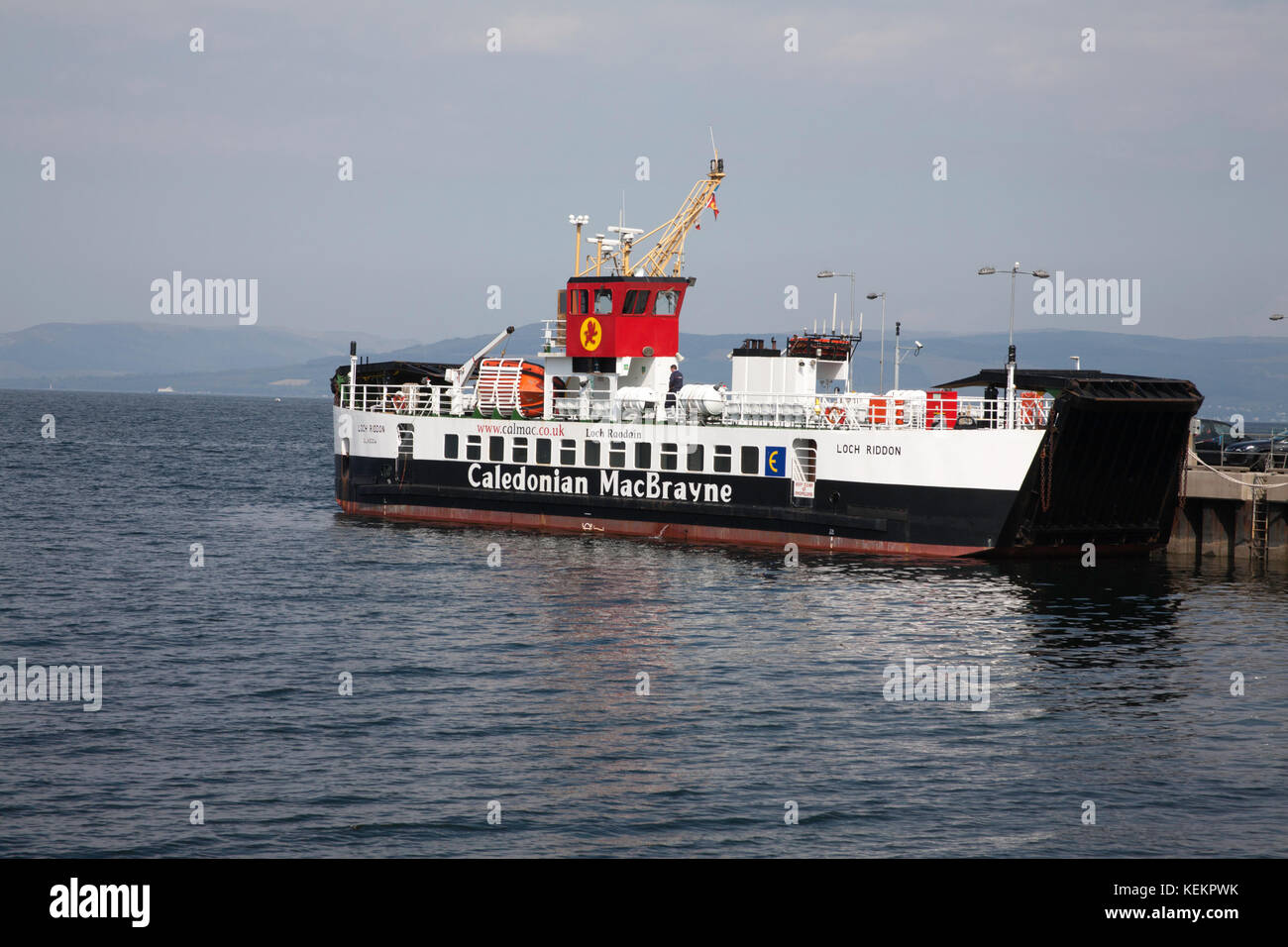 The Caledonian Macbrayne ferry Loch Riddon sailing between the town of  Largs and the Island of Cumbrae North Ayshire - Stock Image