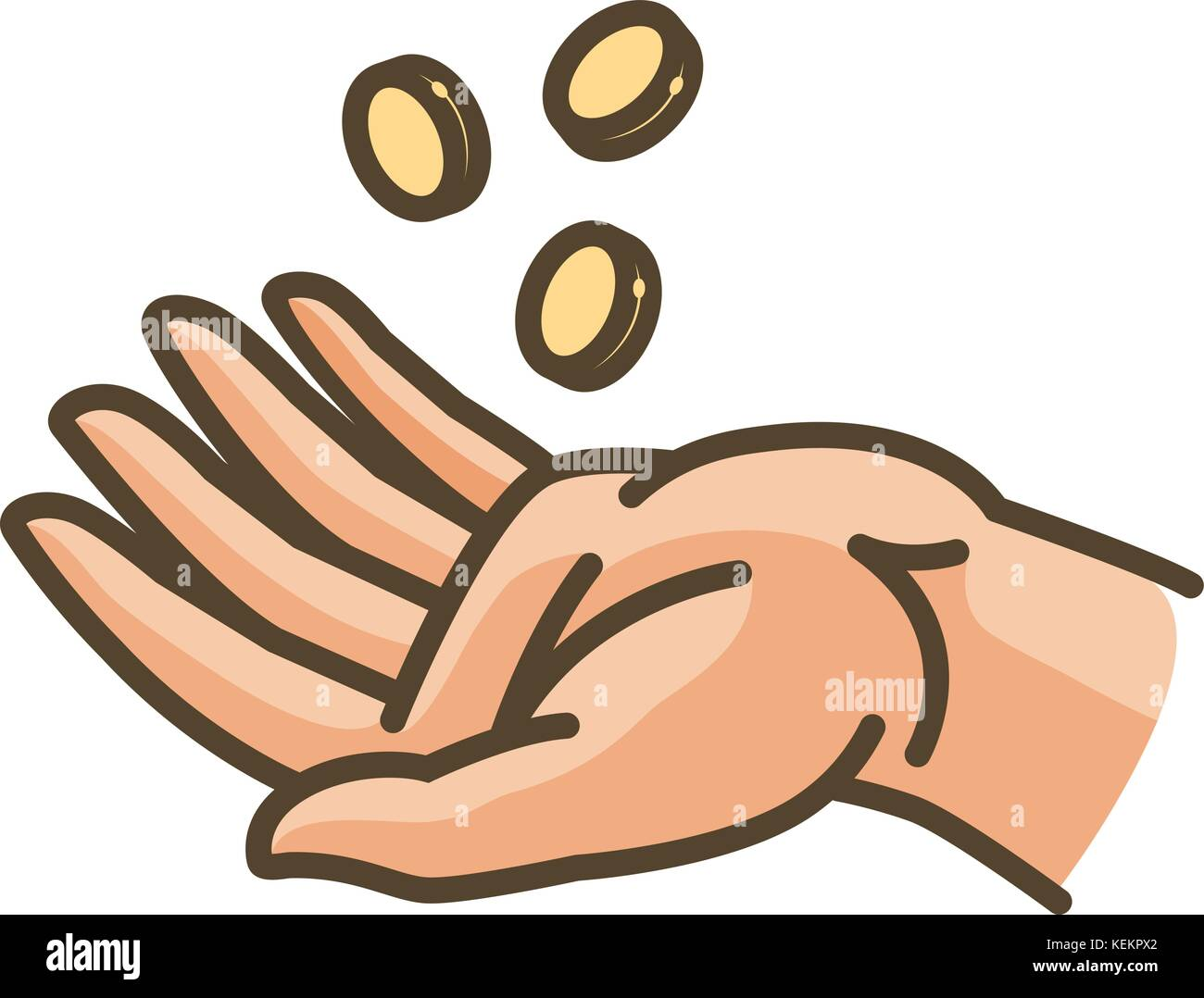 Hand and money or gold coins. Earnings, cash, profit, income icon. Vector illustration Stock Vector