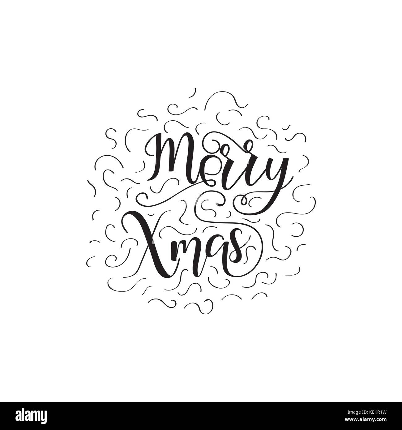 merry xmas christmas holiday vector print black lettering hand written text on white background - Merry Christmas Black And White