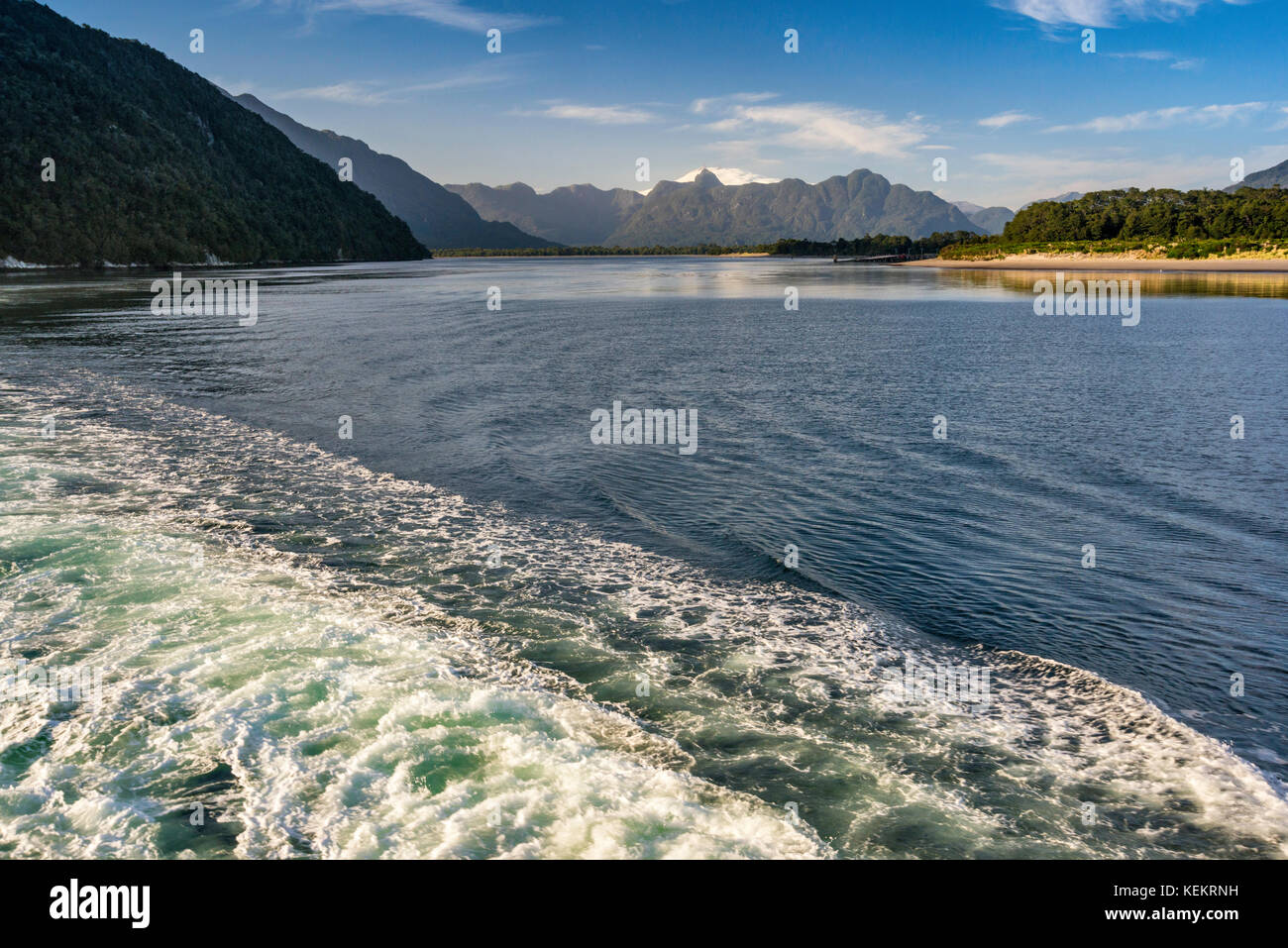 Wake of Quelat ferry on its way from Puerto Raul Marin Balamaceda, Aysen Region, Patagonia, Chile - Stock Image