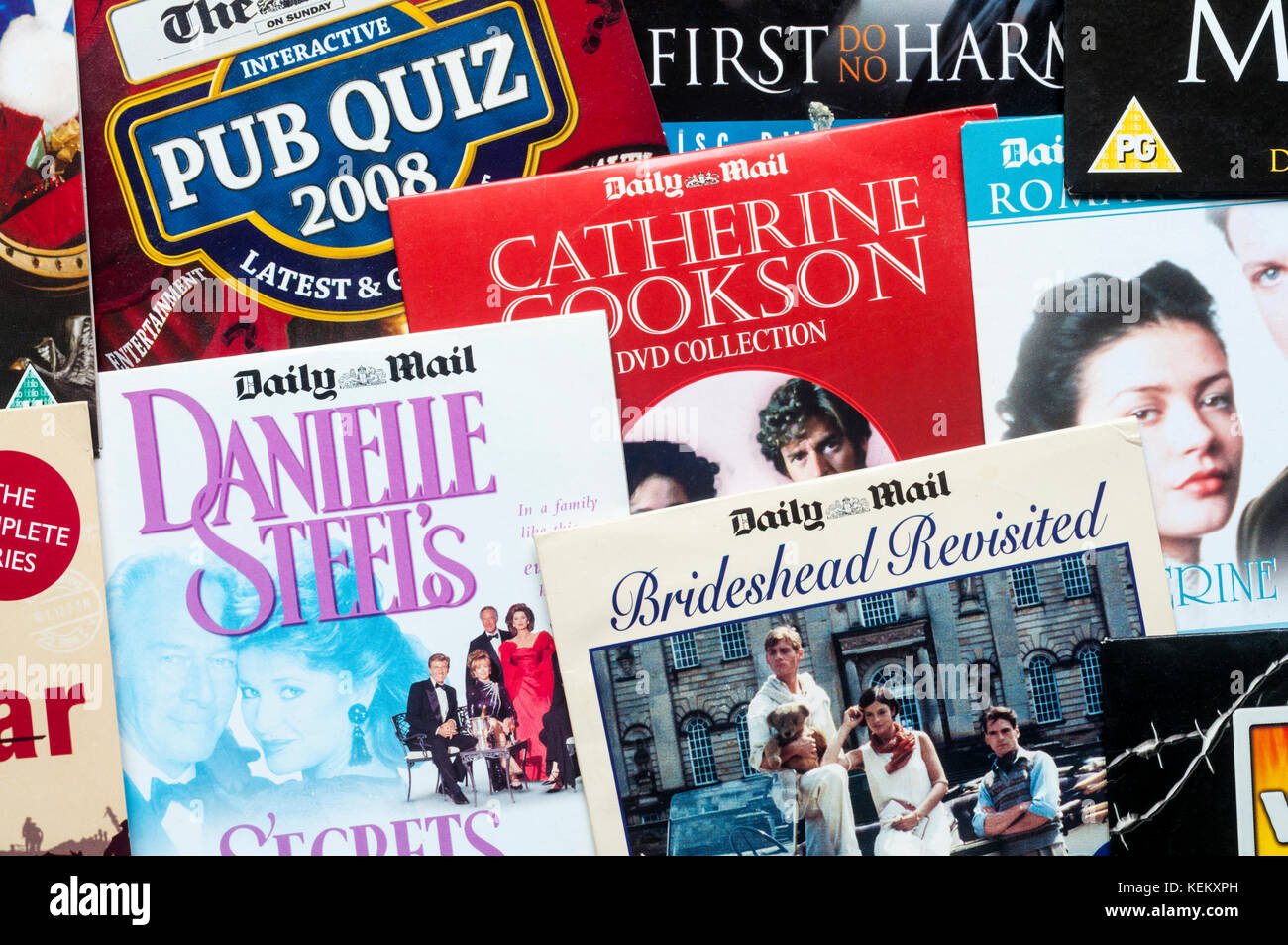 A selection of DVDs given away free with the Daily Mail newspaper. - Stock Image