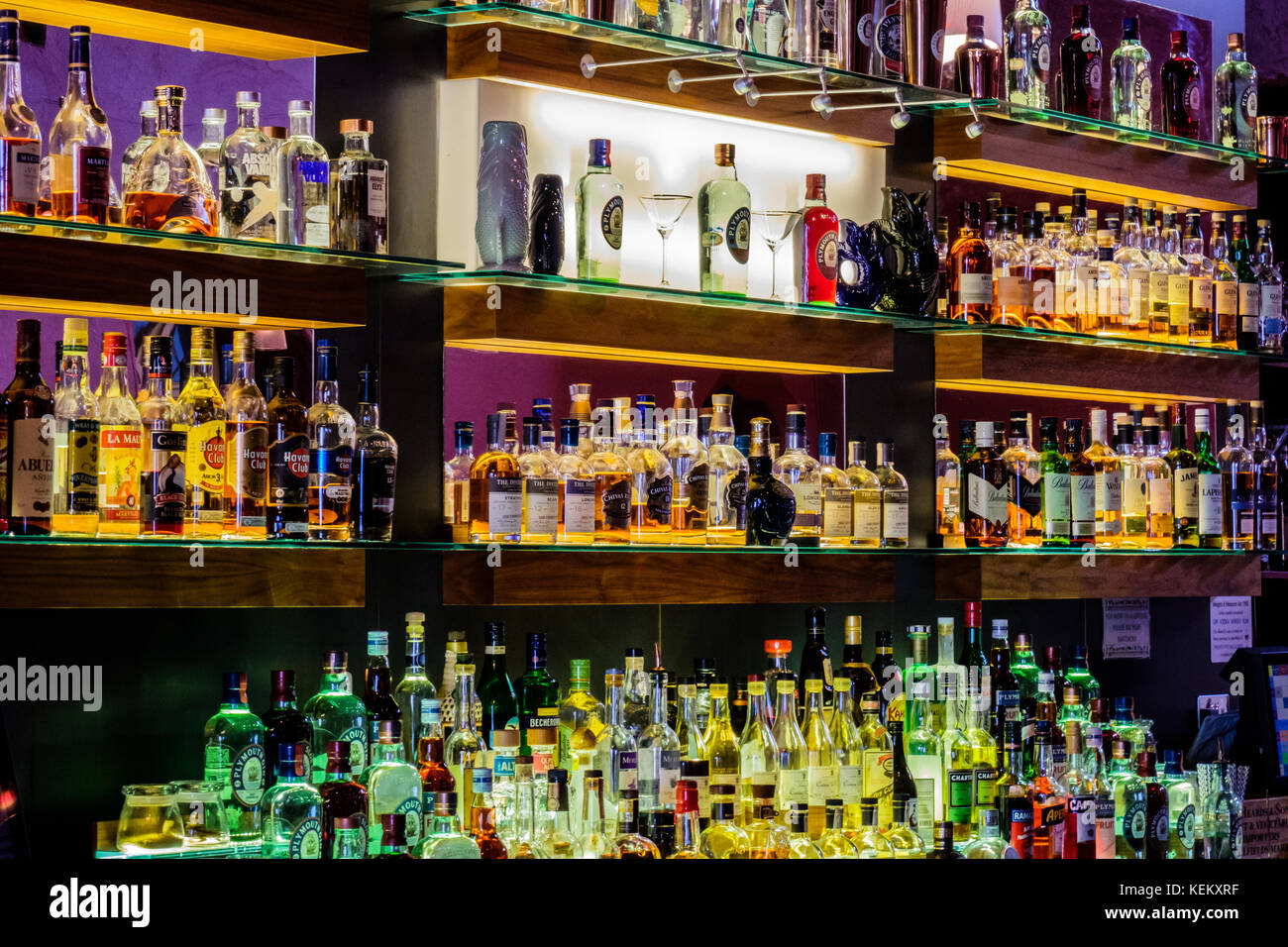 The Gin Bar of the Plymouth Gin Distillery, the Barbican, Plymouth, Devon, England, UK - Stock Image