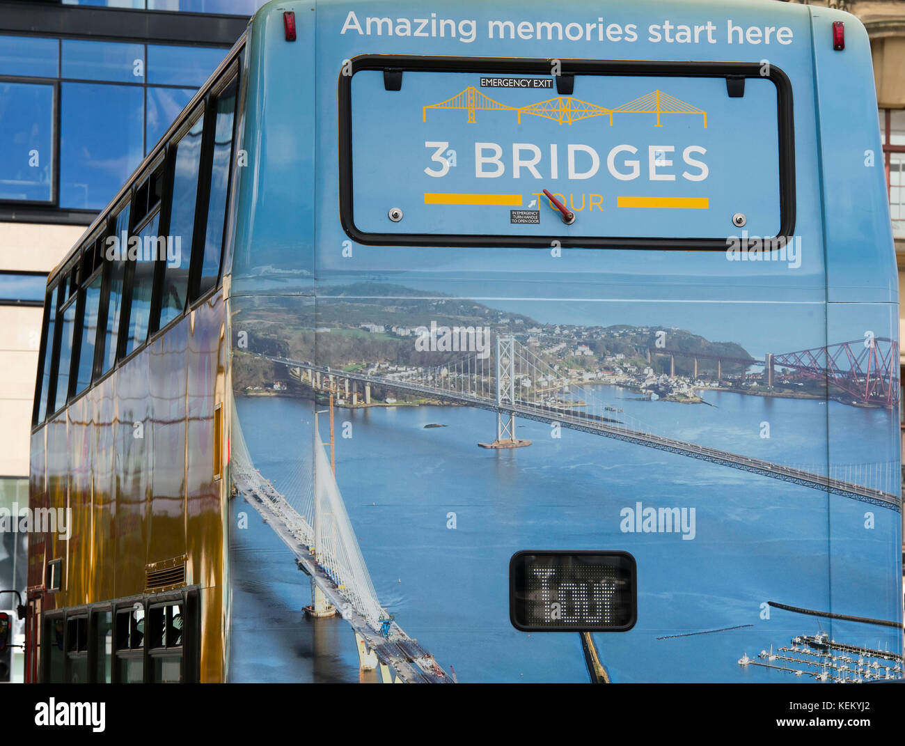 Three Bridges double decker tourist bus arrives at Waverley Bridge in Edinburgh. The new tourist route takes passengers - Stock Image