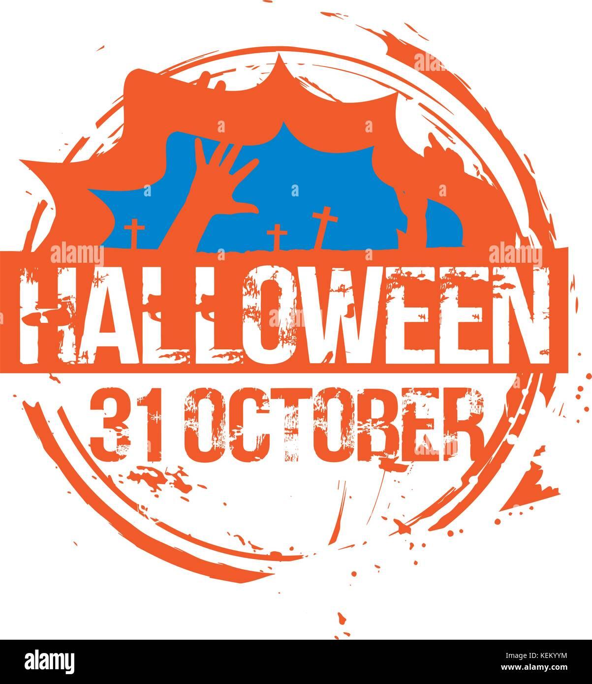 Halloween stempel. Vector illustration. - Stock Image